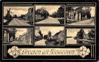 Ansichtkaart Nieuwveen Groeten uit  Molen Vrouwenakker Dorpstraat Café Pastorie Hervormde Kerk 1908 HC22