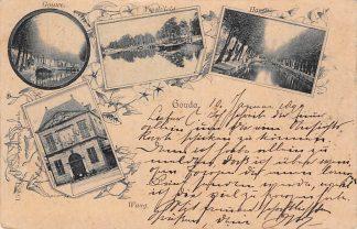 Ansichtkaart Gouda Litho Gouwe Ysselzicht Haven en Waag Uitg. J.T. Swartsenburg 1899 HC27