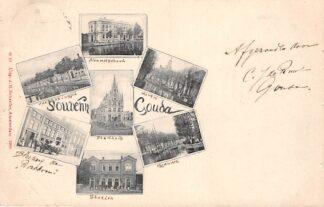 Ansichtkaart Gouda Souvenir Avondschool Kattensingel Haven Stadhuis Bleekerij Station en Gouwe 1900 HC28