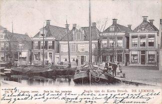 Ansichtkaart De Lemmer Begin van de Korte Streek Scheepvaart Binnenvaart 1903 HC45