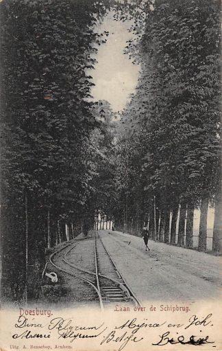Ansichtkaart Doesburg Laan over de schipbrug met treinwissel 1906 Spoorwegen HC1070