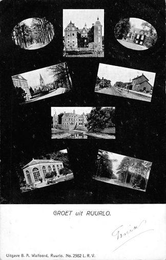 Ansichtkaart Ruurlo Groet uit  Station met trein Kasteel Kerk1905 HC1072