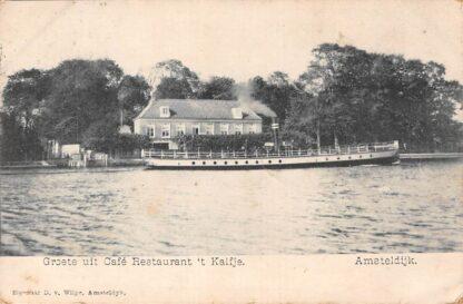 Ansichtkaart Amsteldijk Groeten uit Café Restaurant 't Kalfje Scheepvaart Schepen 1906 Amstelveen HC1081