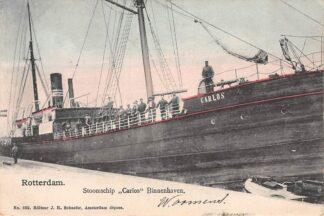Ansichtkaart Rotterdam Stoomschip Carlos Binnenhaven 1903 Binnenvaart schepen HC1091