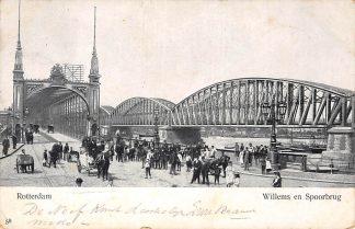 Ansichtkaart Rotterdam Willems en Spoorbrug Hondenkar Paard en wagen 1904 HC1092