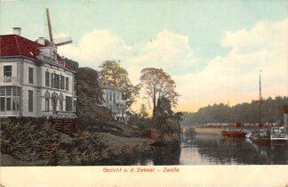 Ansichtkaart Zwolle 1908 Gezicht o.d. Eekwal Molen Binnenvaart schepen HC1165