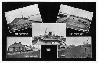 Ansichtkaart Lelystad Groeten uit 1959 Haven Cantine Werkhaven Kamp Overzicht HC1191