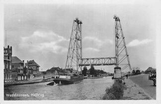 Ansichtkaart Waddinxveen Hefbrug over de Gouwe Binnenvaart schepen 1949 HC1225