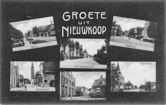 Ansichtkaart Nieuwkoop Groeten uit 1909 Dorp R.K. Liefdesgesticht en Kerk Raadhuis HC1285