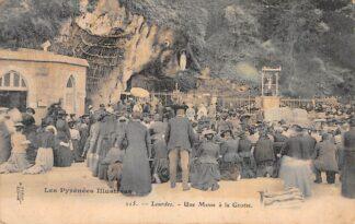 Ansichtkaart Frankrijk Lourdes Une Messe al la Grotte France Europa 1905 HC1294