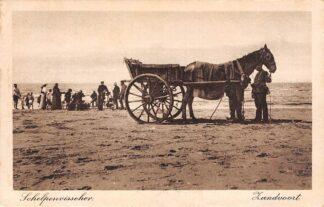 Ansichtkaart Zandvoort Schelpenvisser Strand Paard en wagen HC1310