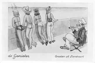 Ansichtkaart Zandvoort Groeten uit Zandvoort 1952 De Genieter Humor HC1312