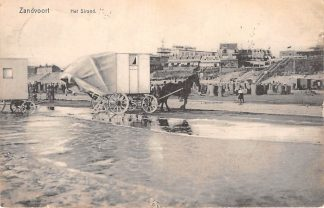 Ansichtkaart Zandvoort 1909 Strand met Paard en bad koets HC1323