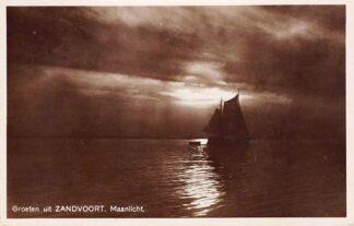 Ansichtkaart Zandvoort Groeten uit Maanlicht Vissers schip 1932 HC1328