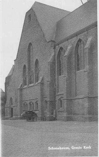 Ansichtkaart Schoonhoven Fotokaart Groote Kerk Groenteverkoper HC1346