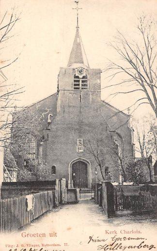 Ansichtkaart Charlois Kerk Groeten uit  Uitg. J.G. Vlieger Rotterdam 77 1903 HC136