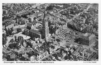 Ansichtkaart Groningen 1927 Groote Markt Stadhuis en Martinikerk KLM luchtfoto 27-191 HC1372