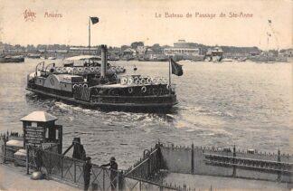 Ansichtkaart Belgie Anvers Antwerpen Le Bateau de Passage de Ste. Anne Veer pont Schepen Europa HC1379