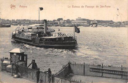 Ansichtkaart Anvers Antwerpen Le Bateau de Passage de Ste. Anne Veer pont Schepen Belgie HC1379