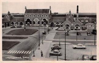 Ansichtkaart 's-Hertogenbosch Station Auto Spoorwegen 1954 Den Bosch HC1390
