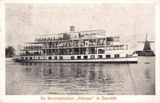Ansichtkaart Zaandijk De Motorsalonboot Alkmaar te Zaandijk Molen 1916 Scheepvaart Schepen HC1393