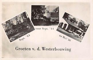 Ansichtkaart Arnhem Oosterbeek Westerbouwing sept. 1944 voor sept. 1944 en na mei 1946 HC1464