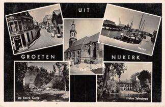 Ansichtkaart Nijkerk Groeten uit  1940 Haven De Beere Camp Singel Kerk Huize Salenteyn HC1501