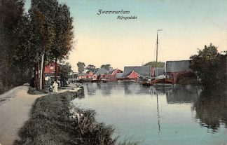 Ansichtkaart Zwammerdam Rijngezicht met binnenvaart schepen Bodegraven 1909 HC158