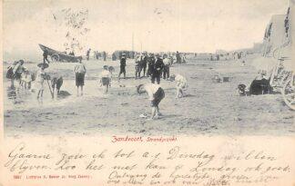 Ansichtkaart Zandvoort 1904 Strand gezicht Badgasten Badkoetsen Schepen HC164