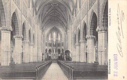 Ansichtkaart Hilversum 1903 Interieur R.K. Kerk 23 Reclamestempel HC165