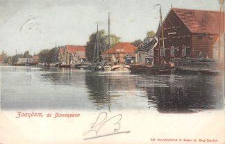 Ansichtkaart Zaandam 1901 de Binnenzaan Binnenvaart schepen Kleinrondstempel Filatelie HC179