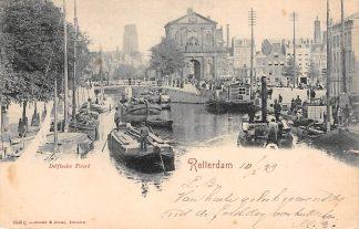 Ansichtkaart Rotterdam 1899 Delftsche Poort Haven met binnenvaart schepen HC186