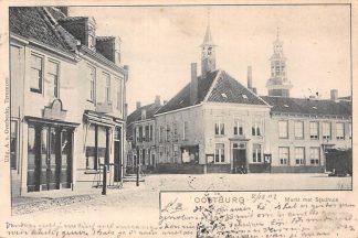 Ansichtkaart Oostburg Markt met Stadhuis 1902 HC190
