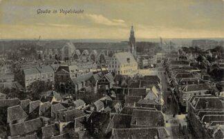 Ansichtkaart Gouda in Vogelvlucht Markt Kleiweg Molen Filatelie HC244