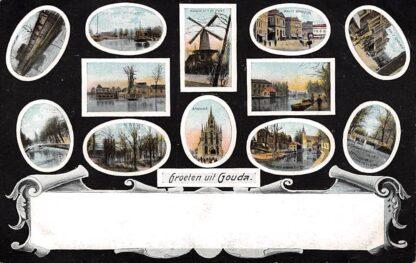 Ansichtkaart Gouda Station Molen Waag Haven Stadhuis Kazerne Brug Karnemelksloot HC245