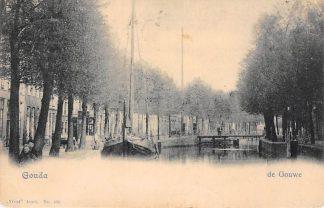 Ansichtkaart Gouda Gouwe met Groenendaalbrug Binnenvaart schepen Vivat No. 403 1901 HC248