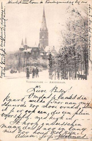 Ansichtkaart Amsterdam Vondelpark in de sneeuw winter HC261