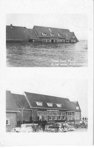 Ansichtkaart Middenmeer Hotel Smit in het water april 1945 en Herrezen na de drooglegging Auto Wieringermeer Wieringen HC264