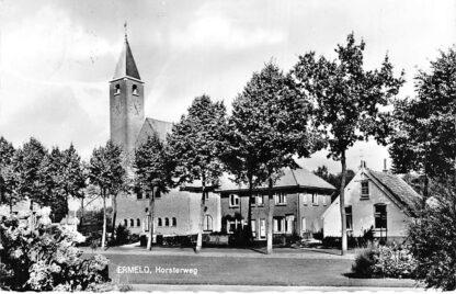 Ansichtkaart Ermelo Horsterweg met kerk 1966 HC341
