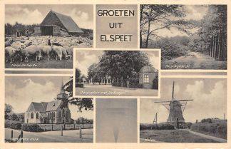 Ansichtkaart Elspeet Groeten uit Elspeet Schapen naar de Heide Molen Dorpsplein met de Koepel Ned. Hervormde Kerk 1938 HC360