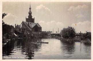 Ansichtkaart Rotterdam Overschie Achter het Dorp met kerk en roeiboot 1936 HC467