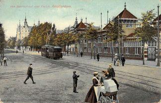 Ansichtkaart Amsterdam Tram Van Baerlestraat met IJs club 1910 HC476