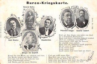 Ansichtkaart Boerenoorlog 1899 Buren Kriegskarte Zuid-Afrika Kruger Joubert Cecil Rhodes Buller Chamberlain Afrika HC482