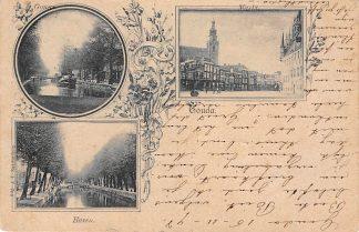 Ansichtkaart Gouda 1898 Litho Markt Gouwe en Haven HC488