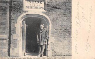 Ansichtkaart Gouda Groeneweg Ingang Werkinrichting Jacobus Schep Oudste inwoner Gompers HC51