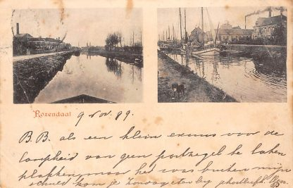 Ansichtkaart Roosendaal 1899 Kanaal met schepen HC541