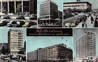 Ansichtkaart Rotterdam wereldstad in opbouw Beursplein Holbeinhuis Zuidplein Auto 1958 HC563