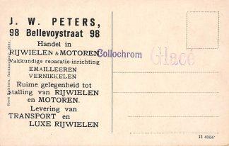 """Ansichtkaart Rotterdam Reclame """"Handel"""" in rijwielen en motoren J.W. Peters Bellevoystraat 98 Bilin HC578"""