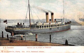 Ansichtkaart Rotterdam S.S. Dresden Harwich - Lijn bij afvaart 1904 Scheepvaart HC580