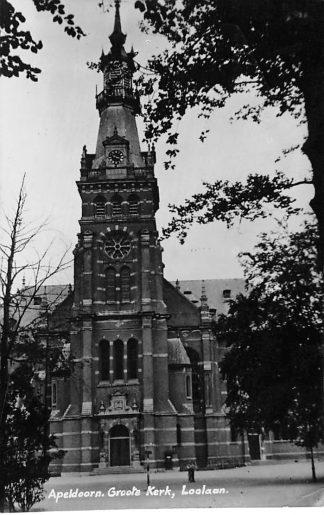 Ansichtkaart Apeldoorn Groote Kerk Loolaan Newo fotokaart 1933 HC607